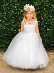 Girls White Communion Dress | Affordable Flower Girl Communion Dress
