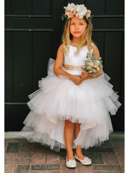 White Ruffle Tulle Hi Lo Dress For Girls | Flower Girl Tulle Dress