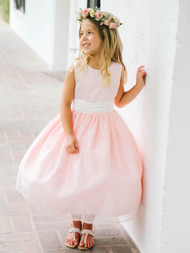 Beautiful Pink Flower Girl Dress | Glitter Tulle Party Dress For Girls