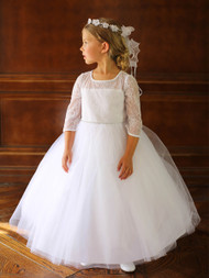 White Lace Tulle Dress For Communion | Tea Length Flower Girl Dress