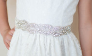 Couture Swarovski Crystal Belt For Girls Communion Flower Girl Dress