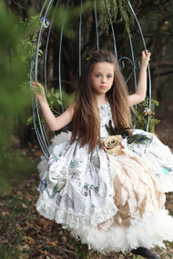 Girls Couture Print Feathered Gown | Girls Formal Party Gown