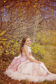 Victorian Inspired Satin Floral Print Ball Gown | Girls Formal Gown