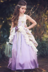 Victorian Wedding Flower Girl Pageant Dress | Girls Floral Satin Gown