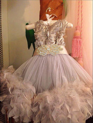 Gorgeous Silver Feather Dress For Girls | Girls Couture Tulle Dress