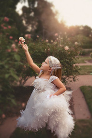 Girls Couture Chiffon Feather Dress | Chiffon Flower Girl Dress