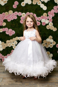 Couture Girl Dress With Swarovski Crystals | Kids Satin Tulle Dress