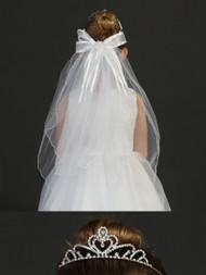 First Communion Tiara With Veil | White Communion Veil With Tiara