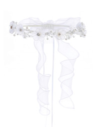 Floral Communion Crown With Crystals | Flower Girl White Halo