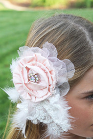 Kids Couture Feather Hairpiece | Girls Couture Wedding Flower Hairpiece