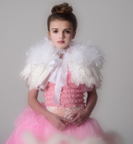 Little Girls Couture Feather Caplet | Kids White v Feather Cape
