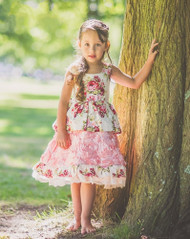 Vintage Couture Floral Lace Dress For Little Girls | Kids Floral Print Dress