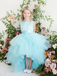 Girls Hi Lo Ruffled Tulle Dress | Beautiful Girls Formal Ruffled Dress