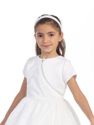 White Satin Bolero For Communion | Flower Girl Short Satin Bolero