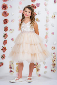Girls Special Occasion Party Dress | Girls Ruffled Brocade Dress