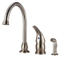Designer Pedestal Goose Neck RV Kitchen Faucet with Side Spray