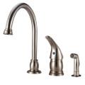 Designer Pedestal Goose Neck RV Kitchen Faucet with Side Spray