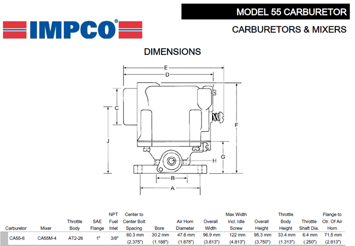 impco lpg carburetor mixer model ca55m