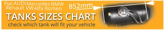LPG Tank Size Vehicle Chart