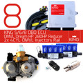 8 Cylinder Conversion Kit based on AEB KING 5/6/8 ECU OBDII Controller, OMVL HP Reducer and OMVL Dream LPG/CNG Injectors
