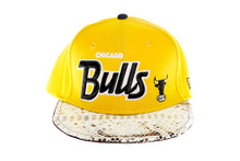 Chicago Bulls REAL Snakeskin Yellow Script Custom Brim Strapback