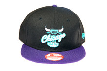 Chicago Bulls Grape Purple Blue Logo Custom New Era Snapback Hat