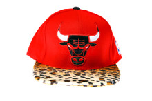 Chicago Bulls Red Logo Furry Cheetah Mitchell & Ness Custom Brim Snapback