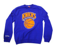 New York Knicks Logo Mitchell & Ness Blue Crewneck