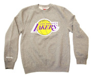 Los Angeles Lakers Logo Mitchell & Ness Grey Crewneck