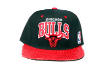 Chicago Bulls Arch REAL Snakeskin Red Custom Brim Strapback