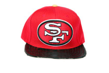 San Francisco 49ers REAL Snakeskin Black Custom Brim Strapback