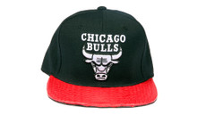 Chicago Bulls White Logo REAL Snakeskin Red Custom Brim Black Strapback