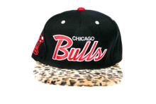 Chicago Bulls Script Furry Cheetah Mitchell & Ness Custom Brim Strapback