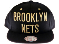 Brooklyn Nets Black and Gold Mitchell & Ness Snapback Hat