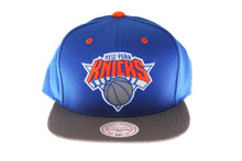 New York Knicks 3M Reflective Underbrim and Logo Mitchell & Ness Blue Snapback hat