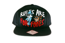 Regular Show Rules are for Fools Black Snapback Hat