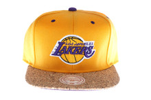 Los Angeles Lakers Cork Brim Mitchell & Ness Snapback Hat