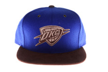 OKC Thunder Brown and Blue Felt Mitchell & Ness Strapback Hat