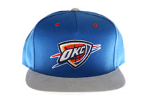 OKC Thunder Blue and Grey Logo Mitchell & Ness Strapback Hat