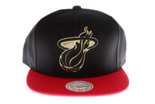 Miami Heat Black and Red with Gold Logo Mitchell & Ness Strapback Hat