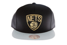 Brooklyn Nets Black and Grey with Gold Logo Mitchell & Ness Strapback Hat