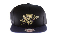 OKC Thunder Black and Blue with Gold Logo Mitchell & Ness Strapback Hat