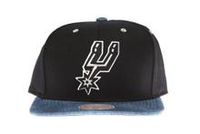 San Antonio Spurs Denim Brim Mitchell & Ness Snapback Hat