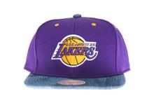 Los Anegeles Lakers Denim Brim Mitchell & Ness Snapback Hat