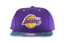 Los Anegeles Lakers Denim Brim Mitchell & Ness Snapback Hat