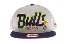 Chicago Bulls Script Grey / Purple - New Era Snapback Hat