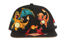Fire Type Pokemon - Charmander Charmeleon and Charizard - Pokemon Snapback Hat