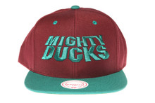 Mighty Ducks 20th Anniversary Bold Script Purple / Teal - Mitchell & Ness Snapback Hat