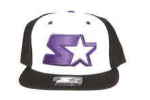 Starter Logo Purple on White and Black Snapback Hat