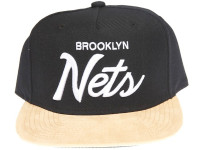 Brooklyn Nets Script Tan Suede Brim Mitchell & Ness Snapback Hat